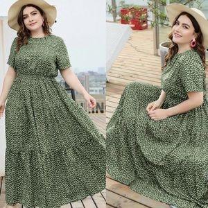 Boho plus size dot swing maxi dress